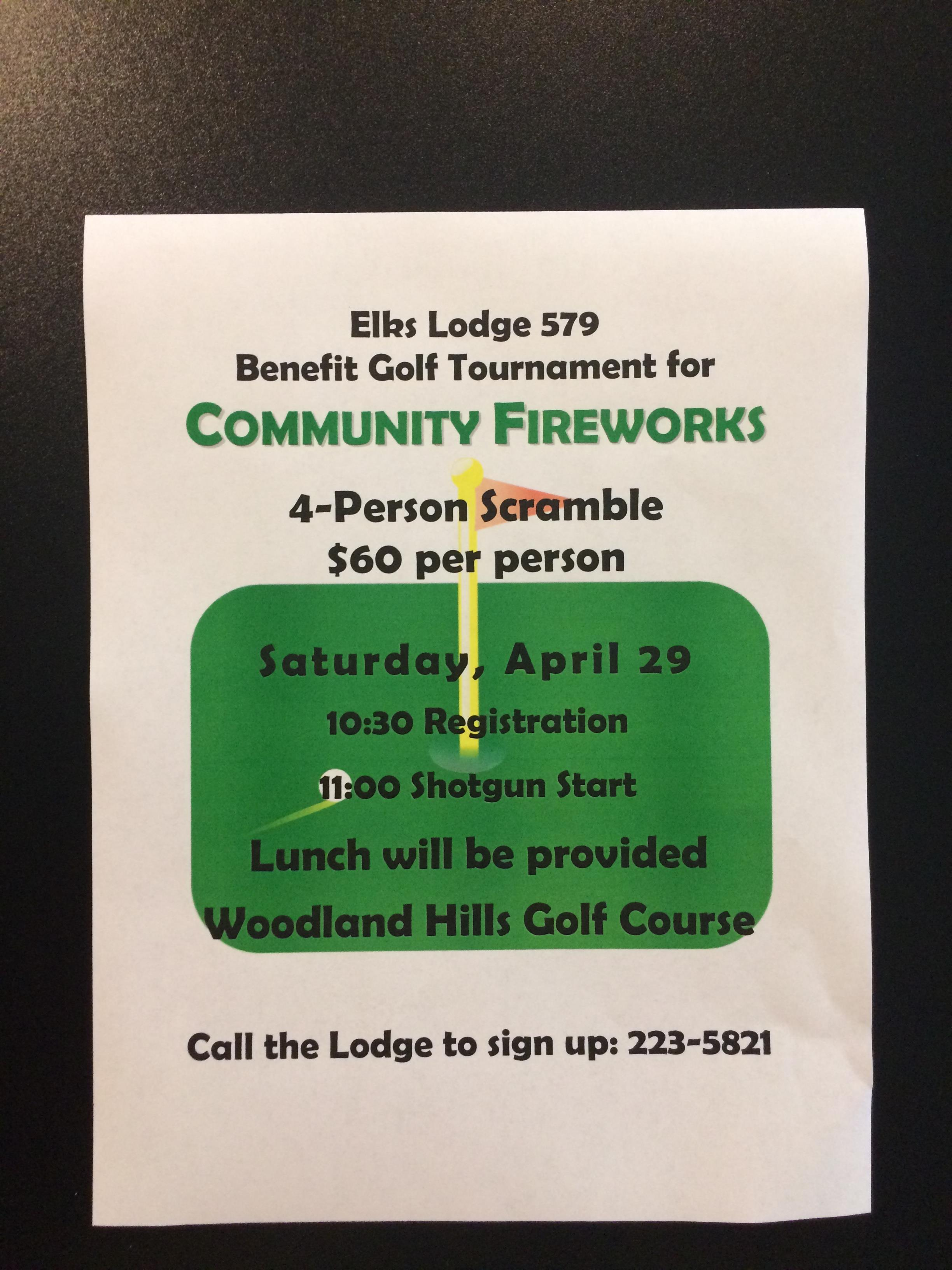 2017 Elks 4-Person Fireworks Scramble Flyer